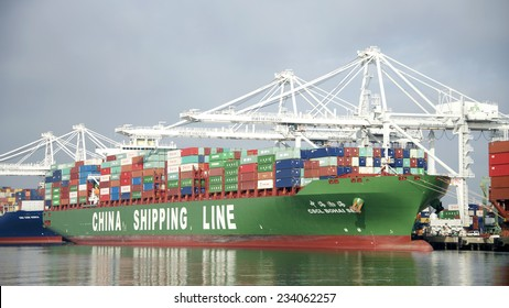 OAKLAND, CA - NOVEMBER 28, 2014: China Shipping Line Cargo Ship (CSCL) HOHAI SEA at the Port of Oakland. CSCL provides fully containerized marine and intermodal freight transport services worldwide.