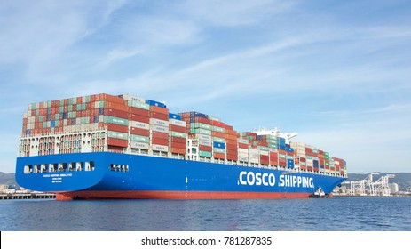 Oakland, CA - November 28, 2017: Cargo Ship COSCO SHIPPING HIMALAYAS entering the Port of Oakland. China Ocean Shipping Company, is a Chinese company of the Peopleâ??s Republic of China