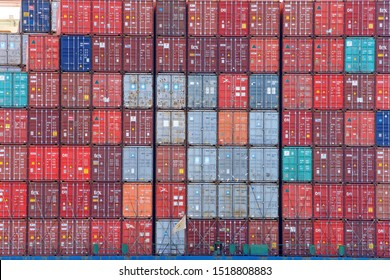 Oakland, CA - September 18, 2019: The average container ship can hold 3,500 containers. Shipping containers are organized and placed algorithmically for efficient transport.