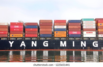 Oakland, CA - September 25, 2018: Cargo Ship YM MOBILITY departing the Port of Oakland. Yang Ming Marine Transport Corp provides shipping to over 70 nations with more than 170 service points.