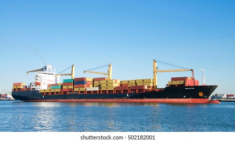Oakland, CA - September 26, 2016: Cargo Ship NIKOLAS entering the Port of Oakland. The cargo volume at the  Port of Oakland makes it the fifth busiest container port in the United States.
