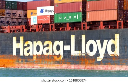 Oakland, CA - September 29, 2019: Hapag-Lloyd Cargo Ship TOKYO EXPRESS entering the Port of Oakland. Hapag-Lloyd AG is the worlds fifth largest container carrier in terms of vessel capacity.