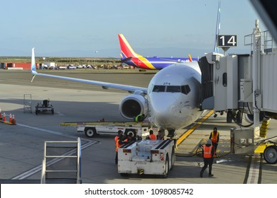 Oakland, CA / USA - April 12 2018: Southwest Airlines at Oakland International Airport