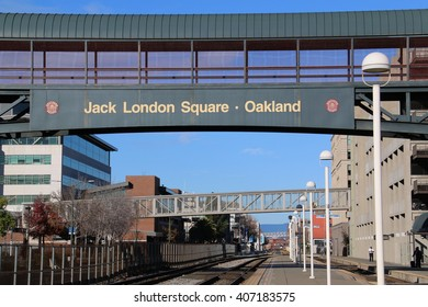 Oakland, CA, USA - December 25, 2015: Jack London Square is a train station in downtown Oakland. It was the tenth-busiest in 2012, boarding or detraining an average of about 1,142 passengers daily.