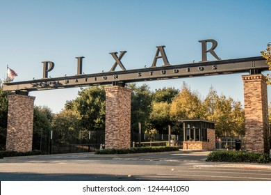Oakland, CA / USA - OCTOBER 14, 2018: Pixar facade, animation studio, during the afternoon at sunset.
