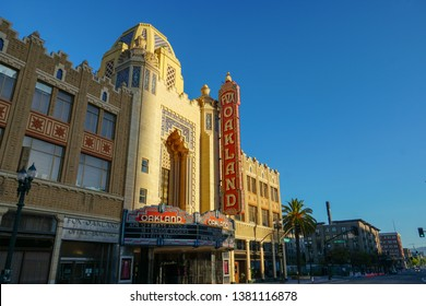 OAKLAND, CALIFORNIA -- APRIL 13, 2019: The morning sun rises on the Fox Oakland Theatre, a concert hall and former movie theater in Downtown Oakland.