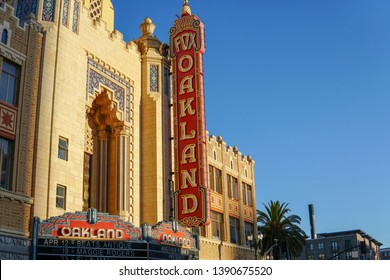 OAKLAND, CALIFORNIA -- APRIL 13, 2019: The morning sun rises on the iconic Fox Oakland Theatre, a concert hall and former movie theater in Downtown Oakland.