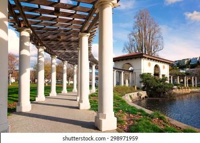 Oakland, California downtown Lake Merritt park pergola in warm morning light. Built in 1913 and restored in 2007