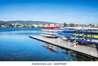 Oakland, California Lake Merritt rowing sculls on racks. View of the shoreline. Sunny day blue sky with copy space.