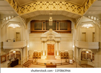 Oakland, California - September 30, 2018: Interior of Temple Sinai Reform Synagogue. Founded in 1875, it is the oldest Jewish congregation in the East San Francisco Bay region.