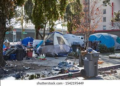 Oakland, California, USA - December 16, 2018: Homeless camp at San Pablo and W Grant.