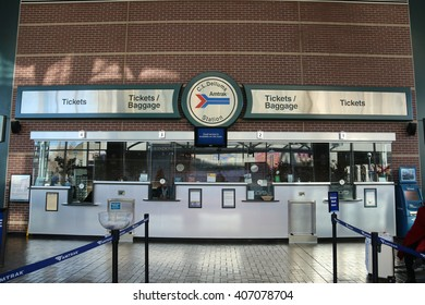 Oakland, California, USA - December 25, 2015: Amtrak provides medium and long distance intercity railroad service connecting more than 500 destinations 46 states of United States.