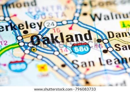 Oakland California USA On Map Stockfoto (Jetzt bearbeiten) 796083733 on