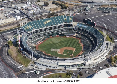 Oakland, California, USA - September 19, 2016:  Aerial view of the Oakland Coliseum baseball stadium.  Home of the Oakland Athletics.