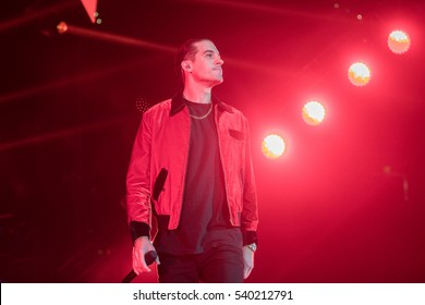 Oakland, CA/USA - 12/14/2016: Gerald Earl Gillum also known as G-Eazy performs at the Oracle Arena in Oakland. His album peaked at 3 on US Billboard 200 and his single, 10 on the US Billboard Hot 100.