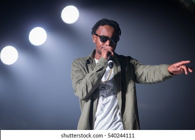"""Oakland, CA/USA - 12/14/2016: Jaylen Robinson aka Rob Stone (stylized as Rob $tone ) performs at Oracle Arena.  He's known for his debut single, """"Chill Bill"""" from his mixtape Straight Bummin."""