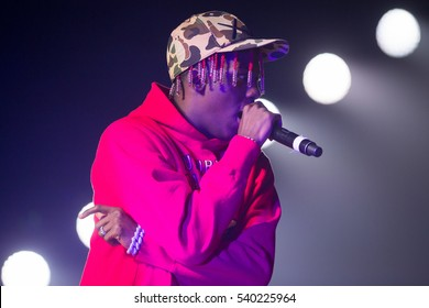 Oakland, CA/USA - 12/14/2016: Miles Parks McCollum known as Lil Yachty performs at Oracle Arena.  He appeared in a Sprite commercial with Lebron James, and endorsed by Nautica and UrbanOutfitter.