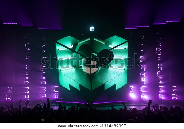 Oakland, CA/USA - 4/24/17: Joel Thomas Zimmerman aka Deadmau5 performs at the Fox Theater. He's a Grammy nominated Canadian DJ and producer. His styles include progressive house and electro house.