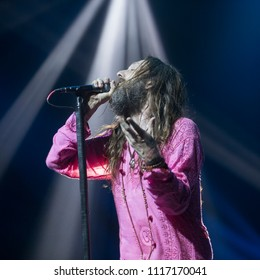 Oakland, CA/USA: 5/11/2018: Chris Robinson sings with As The Crow Flies. He's also known for his band The Black Crowes and marriage to Kate Hudson in December 2000.