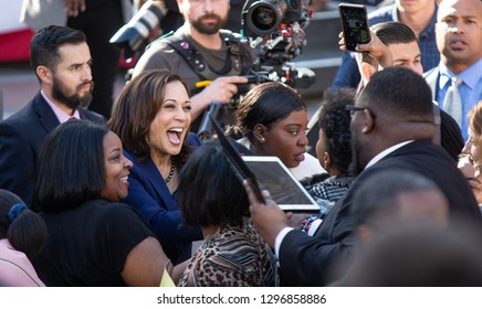 Oakland, CA/USA-Jan.27,2019- Senator Kamala Harris moves through the crowd after announcing her candidacy for president.
