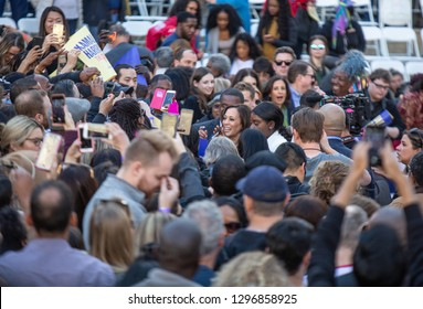 Oakland, CA/USA-Jan.27,2019- Senator Kamala Harris is in middle of a crowd after announcing her candidacy for president.