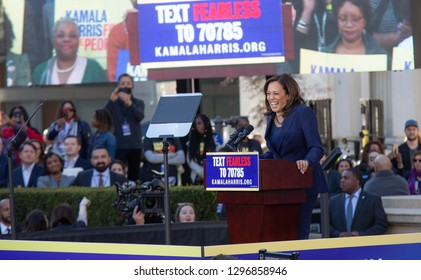 Oakland, CA/USA-Jan.27,2019- Senator Kamala Harris announcing her candidacy for President of the United States in the 2020 election in her hometown of Oakland.