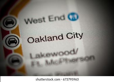 Oakland City Station. Atlanta Metro map.