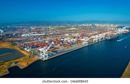 Oakland Harbor port terminal with shipping containers