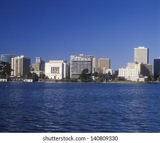 Oakland skyline from Lake Merritt, Oakland, California
