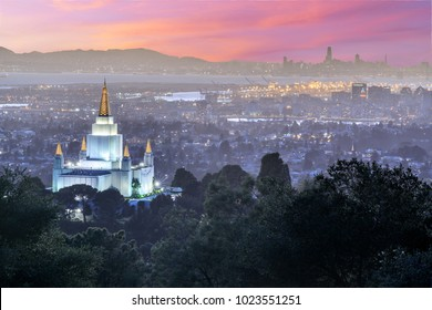Oakland Temple and City from Oakland Hills. Oakland, Alameda County, California, USA.
