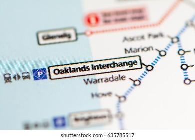 Oaklands Intrerchange Station. Adelaide Metro map.