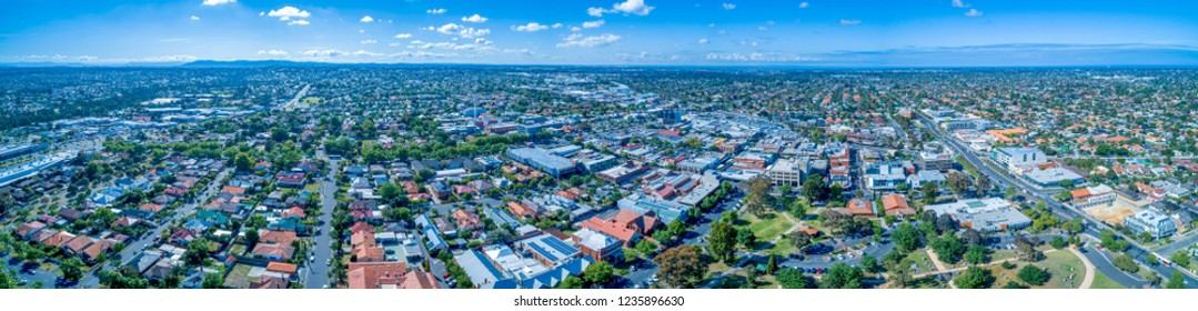 Oakleigh suburb residential area - wide aerial panorama