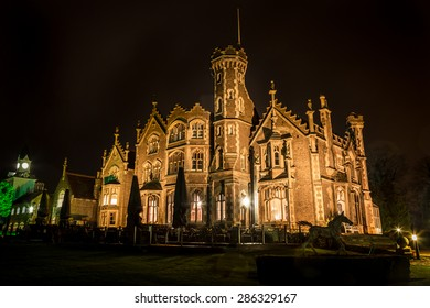 THE OAKLEY COURT, WINDSOR - CIRCA 2015: Victorian Gothic country house overlooking River Thames at Water Oakley in Bray in the English county of Berkshire. Used as film set for Hammer Horror movies.