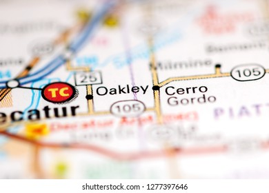 Oakley. Illinois. USA on a geography map