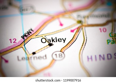 Oakley. Mississippi. USA on a map