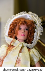 Oaks, PA/USA-March 2, 2019:  American treasure Museum, portrait of rare collector doll dressed as a glamorous Little Bo Peep, with red hair and ornate bonnet.  Pop Culture.