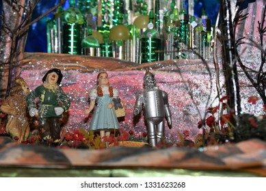 Oaks, PA/USA-March 2, 2019:  close up of miniature scene diorama with Wizard of Oz characters in front of poppy field and Emerald City.