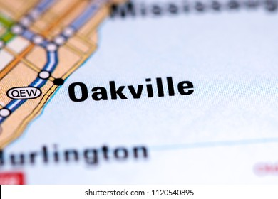 Oakville. Canada on a map