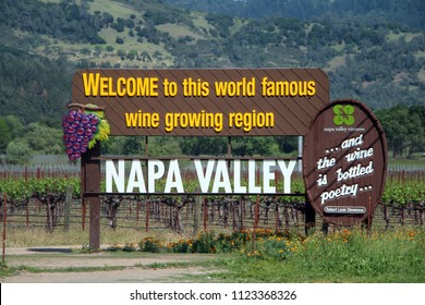 OAKVILLE, CA/U.S.A. - April 19, 2014: This Welcome Sign is one of two that are popular photo spots for Napa Valley tourists.It is located on Highway 29, on the edge of the historic To Kalon vineyard.
