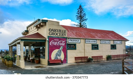 Oakville, CA/USA - Jan. 31, 2016: Oakville Grocery. Founded in 1881, Oakville Grocery is the oldest continually operating grocery store in the state of California.
