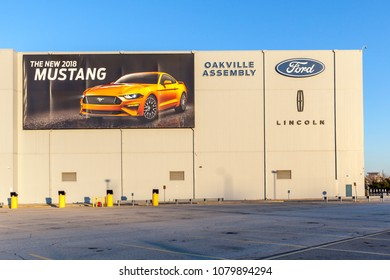 Oakville, Ontario, Canada - April 29, 2018: Sign and building in Ford Motor Company of Canada in Oakville, Ontario, Canada.  The Ford Motor Company is an American multinational automaker.