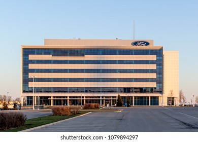 Oakville, Ontario, Canada - April 29, 2018: Sign on building in Ford Motor Company of Canada in Oakville, Ontario, Canada.  The Ford Motor Company is an American multinational automaker.