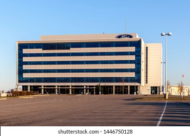 Oakville, Ontario, Canada - April 29, 2018: Building of Ford Motor Company of Canada in Oakville, Ontario, Canada.  The Ford Motor Company is an American multinational automaker.