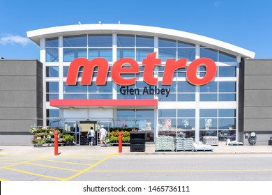 Oakville, Ontario, Canada - July 14, 2019: A Metro store in Oakville, Ontario, Canada. Metro Inc. is a Canadian food retailer operating in the provinces of Quebec and Ontario Canada.