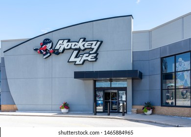 Oakville, Ontario, Canada - July 14, 2019: Hockey Life storefront in Oakville, Ontario, Canada near Toronto, a Canada's hockey megastore owned by Canadian Tire providing the hockey equipment