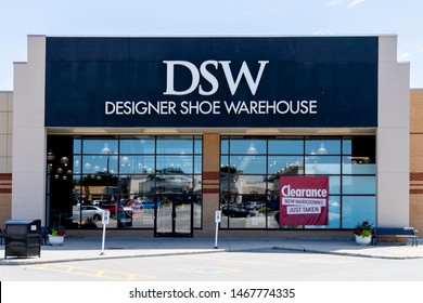 Oakville, Ontario, Canada - July 14, 2019: DSW storefront in Oakville, Ontario, Canada near Toronto. DSW is an American footwear retailer of designer and name brand shoes and fashion accessories.