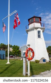 Oakville, Ontario, Canada- July 23, 2018: Old Oakville lighthouse, built 1875 and removed from the East Pier and preserved in this location.