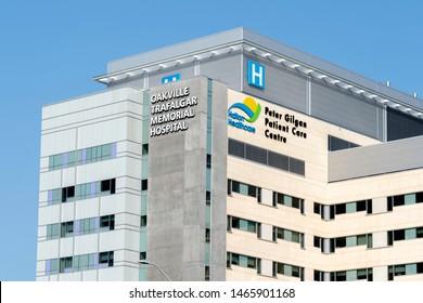 Oakville, Ontario, Canada - July 25, 2019: Oakville Trafalgar Memorial Hospital in Oakville, Ontario, Canada.