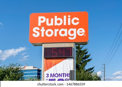 Oakville, Ontario, Canada - July 28, 2019: Sign of Public Storage in Oakville, Ontario, Canada. Public Storage is an American international self storage company.