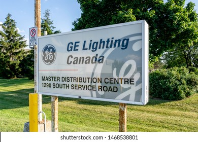 Oakville, Ontario, Canada - July 28, 2019: Sign of GE Lighting Canada in Oakville, Ontario, Canada, a Lighting wholesaler.